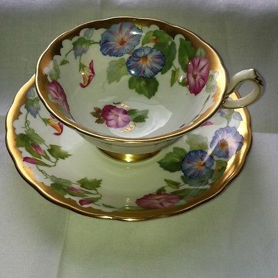 ROYAL CHELSEA Blue & Pink MORNING GLORY GOLD TEA CUP & SAUCER FANCY ...