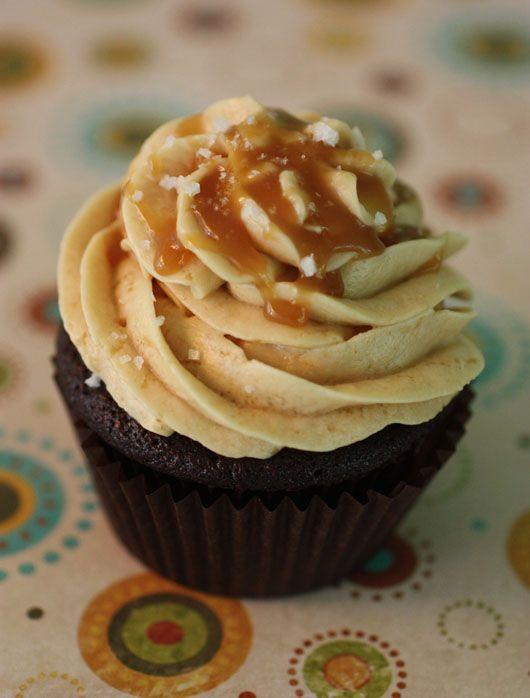 "... Cake"" Cupcakes with Salted Caramel Buttercream (I love Wacky Cake"