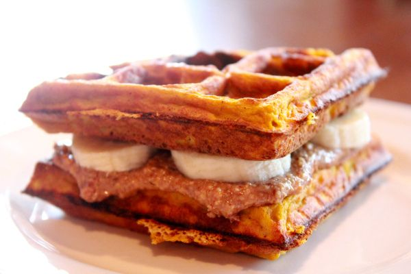 pumpkin waffle almond butter banana sandwich for the kiddos with a ...