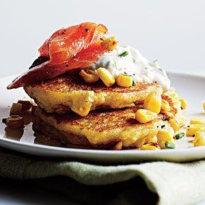 Corn Pancakes with Smoked Salmon and Lemon-Chive Cream | MyRecipes.com