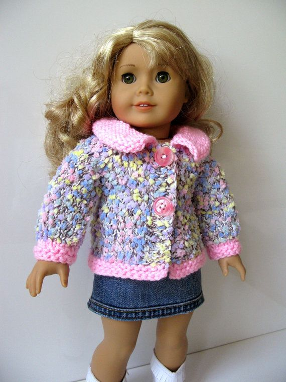 Knitting Patterns For 5 Inch Dolls : American Girl 18 inch DOLL clothes Confetti basic cardigan ...