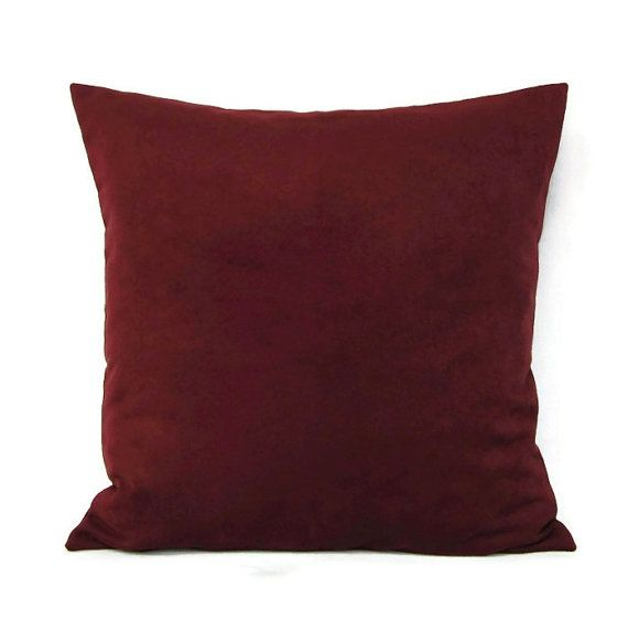 Burgundy Colored Throw Pillows : 18x18 Throw Pillow Cover Burgundy Wine Home Decor Decorative Suede