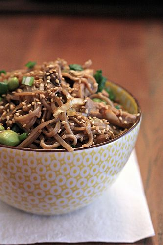 Spicy Soba Noodles with Shiitakes and Cabbage. I substituted sauteed ...