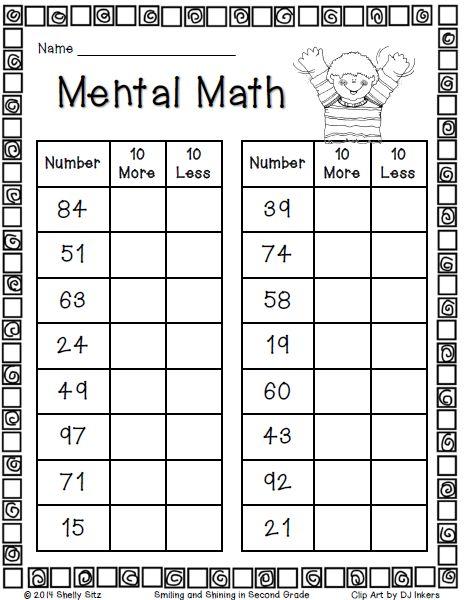 100 addition facts worksheet for 2nd grade