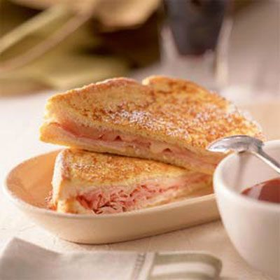 Healthy Monte Cristo Sandwich with sweet mustard sauce ... say WHATAH ...