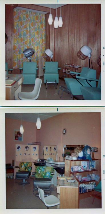 1960s hair salon Polaroids, love the turquoise hood dryer chairs