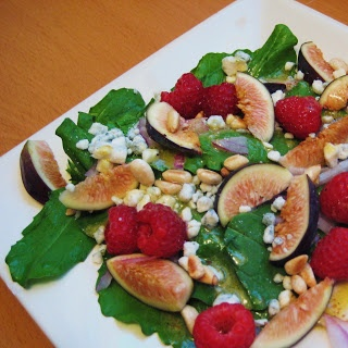 Mango & Tomato: Fig Salad with Raspberries, Blue Cheese and Pine Nuts