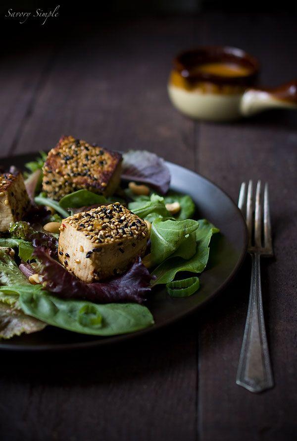 Sesame Crusted Tofu Salad with Spicy Peanut Dressing - Vegan Recipe ...