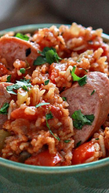 One Pan Easy Smoked Sausage Jambalaya | Recipe