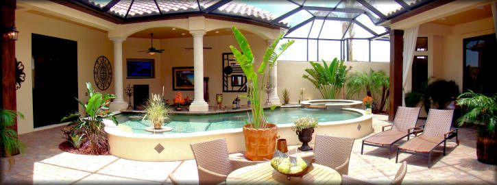 Pin by v l on backyard resorts tranquility pinterest for Homes with courtyards in the center