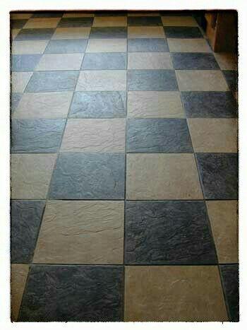 Vinyl slate checkered tile floor american dream pinterest for Checkered vinyl flooring