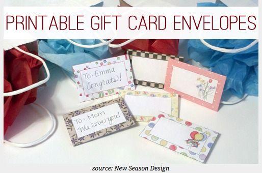 Free Printable Gift Card Envelopes : Craft Ideas : Pinterest