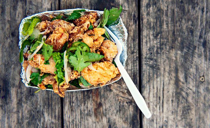 ... Chef Paul Qui's #recipe for Thai chicken karaage over liberty rice
