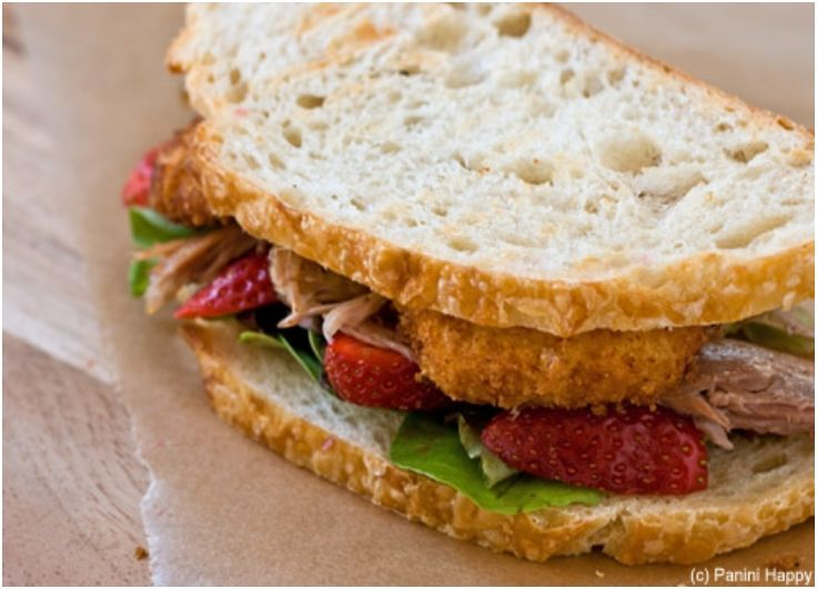 Duck Confit, Strawberries & Fried Goat Cheese Panini