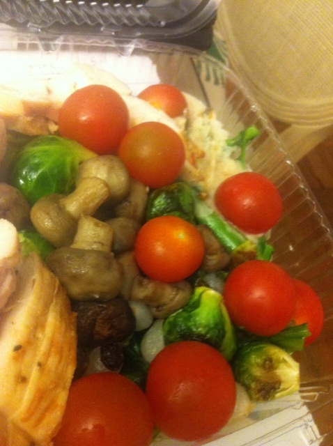... cucumber, grilled chicken, sautéed broccoli rabe, mushrooms, hummus