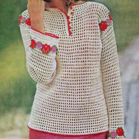 Crochet Patterns Pdf Free Download : INSTANT DOWNLOAD PDF Crochet Pattern Flowered Filet Tunic Vintage Ret ...