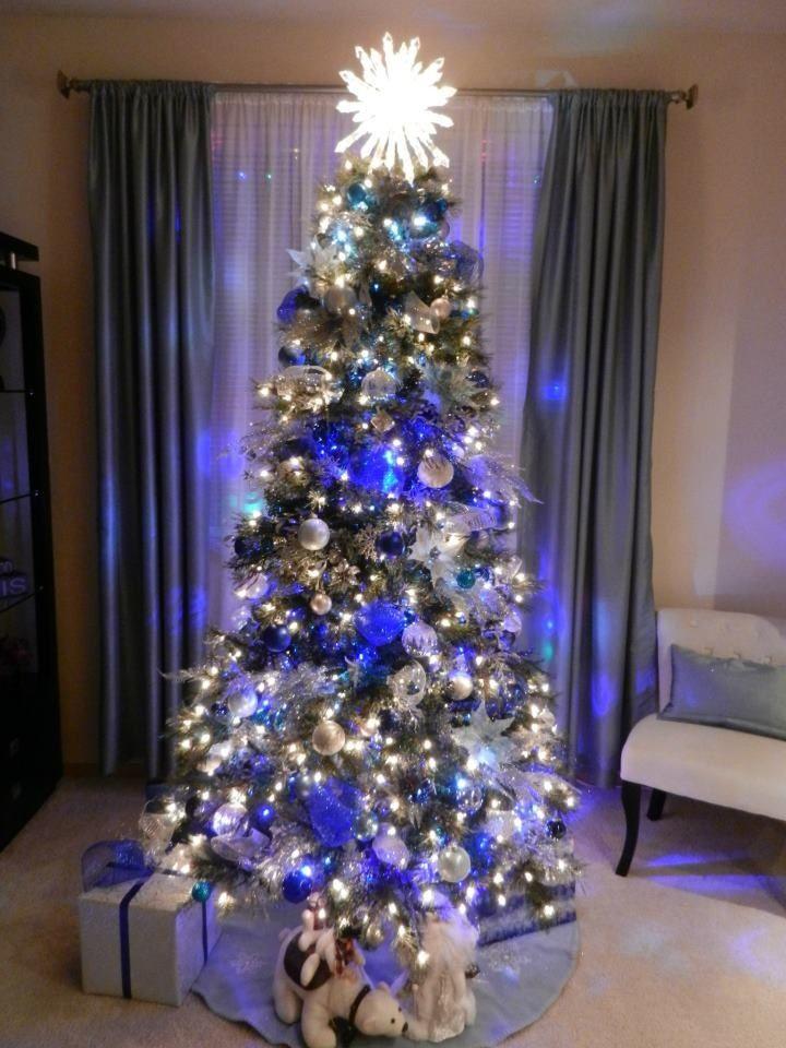 Silver Blue Christmas Tree Blue Christmas Pinterest