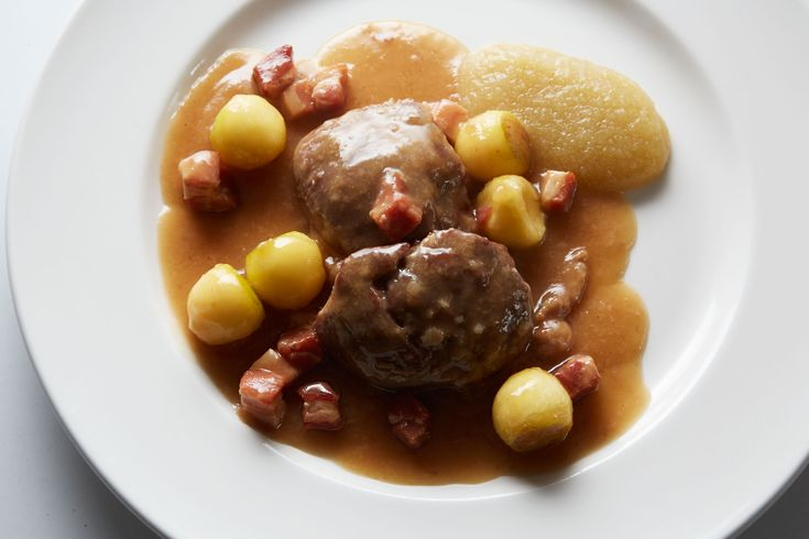 Mark Hix's braised pork cheeks with apples and cider