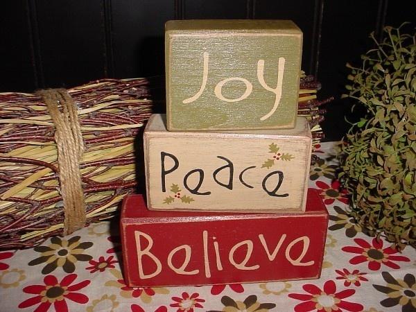 JOY PEACE BELIEVE Wood Sign Shelf Blocks Primitive Country Rustic Holiday Seasonal Christmas Home Decor. $24.95, via Etsy.