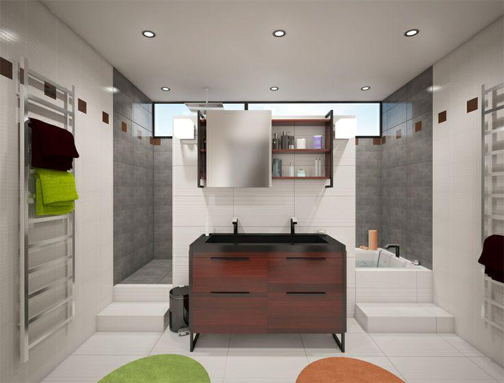 Baignoire et douche derrière meuble vasque