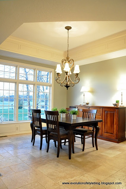 Gorgeous dining room transformation but i 39 m interested for Benjamin moore horizon gray