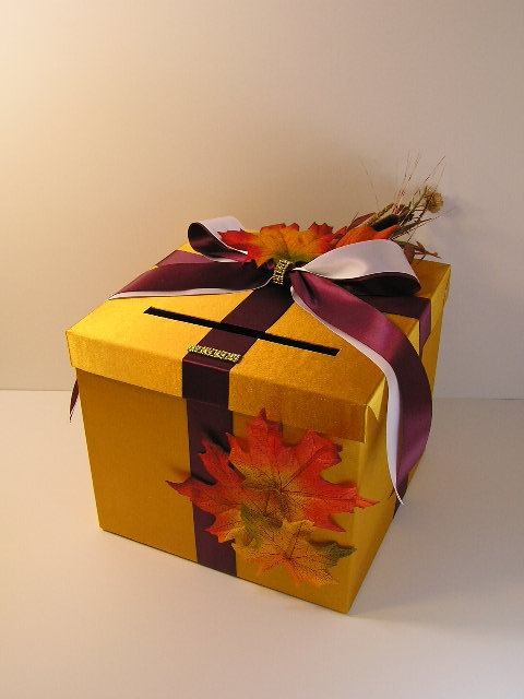 Fall Wedding Card Box Gift Card Box Money Box Holder-Customize/made to ...