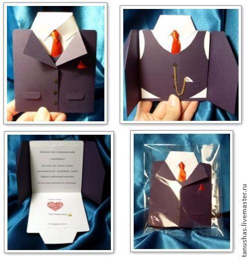 Открытки в виде рубашек с галстуками своими руками 893