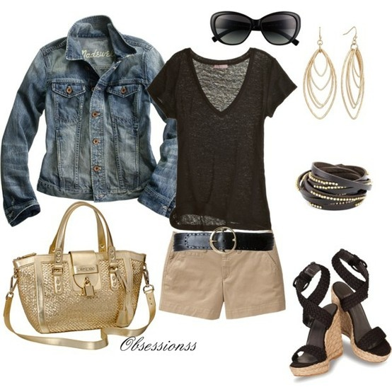 khaki shorts, black top, and jacket