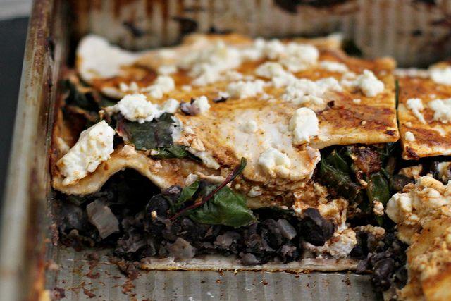 Recipe: Layered Pasilla-Tortilla Casserole with Black Beans, Mushrooms ...
