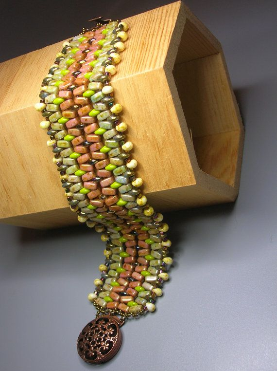 Magic carpet brick beads and Superduo braclet tutorial by zviagil, $7.00