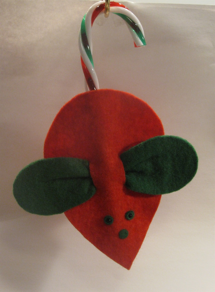 Classic felt mouse with candy cane tail christmas pinterest