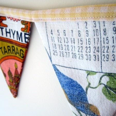 repurposed vintage tea towels for bunting
