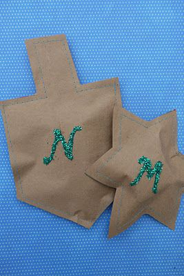 Hanukkah Crafts - recycle a grocery bag and sew it into a Hanukkah shape with gelt inside!