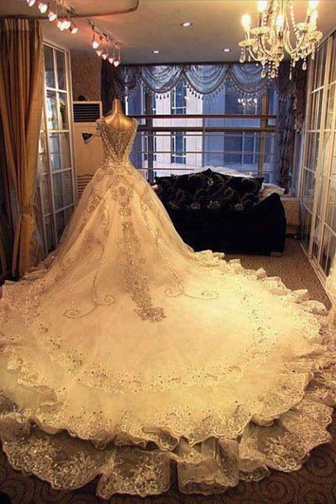 Long train wedding dress   kayce   Pinterest