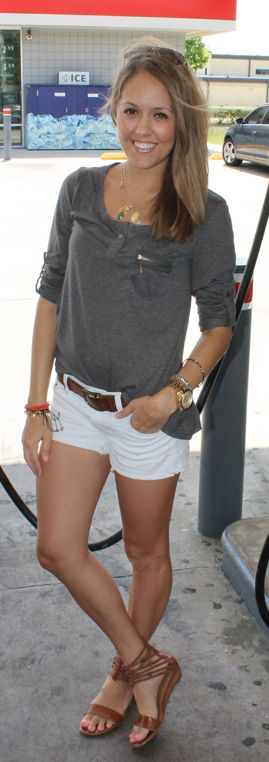 grey t-shirt with interesting details (zipper, tab roll up sleeves, high-low hemline)