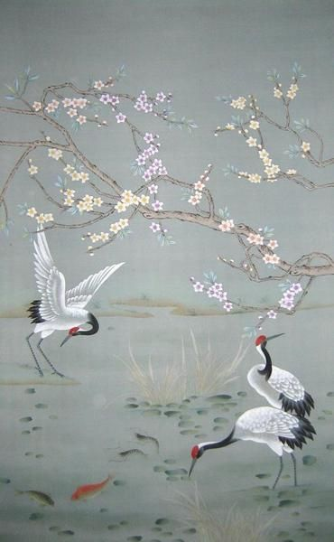 Chinoiserie hand painted wallpaper chinoiserie papers for Chinoiserie mural wallpaper