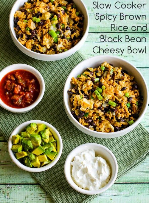 this Slow Cooker Spicy Brown Rice and Black Bean Cheesy Bowl can cook ...