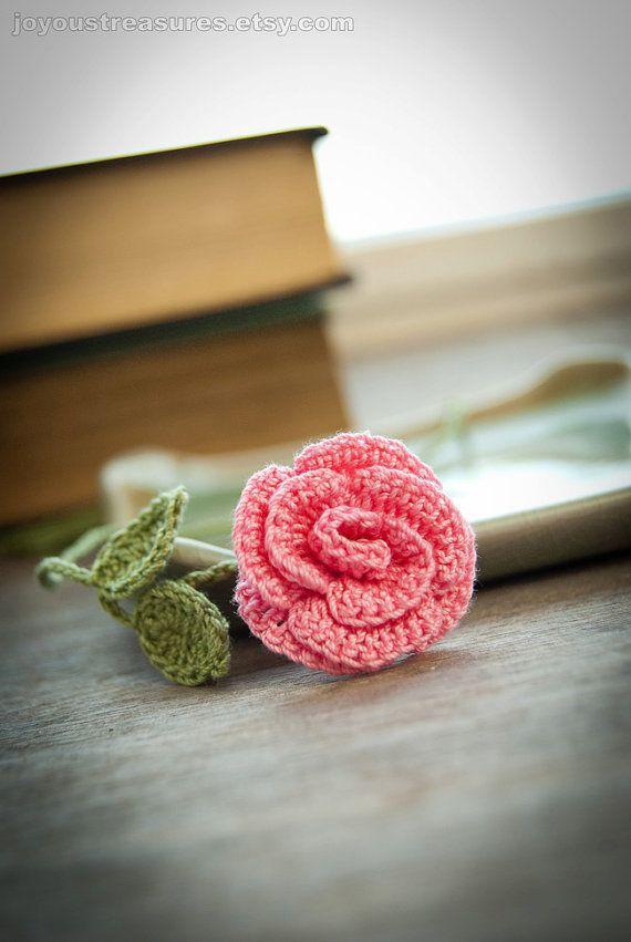 Handmade Crochet : Handmade Crochet Rose Bookmark Crochet Flower by joyoustreasures, $15 ...