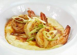 Carolina shrimp & grits – a huge bowl of cheddar grits, spicy ...