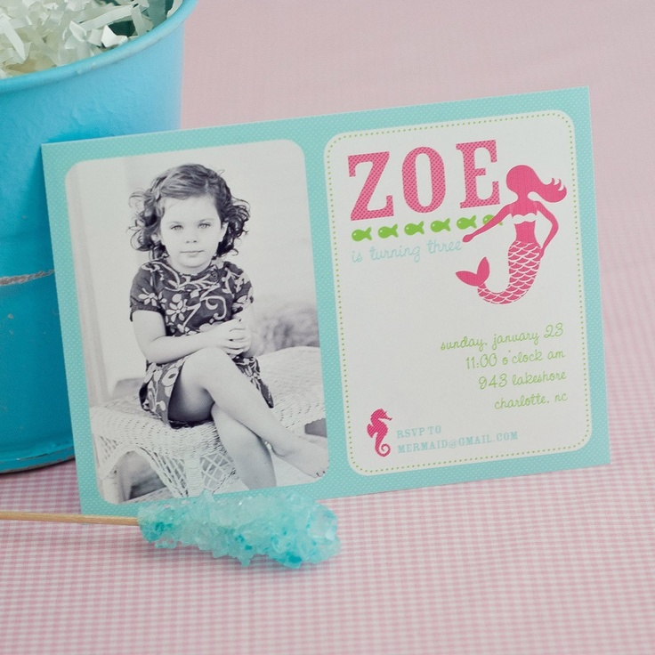Mermaid Under the Sea Birthday Party Printable Photo Invitation - Pink and Aqua