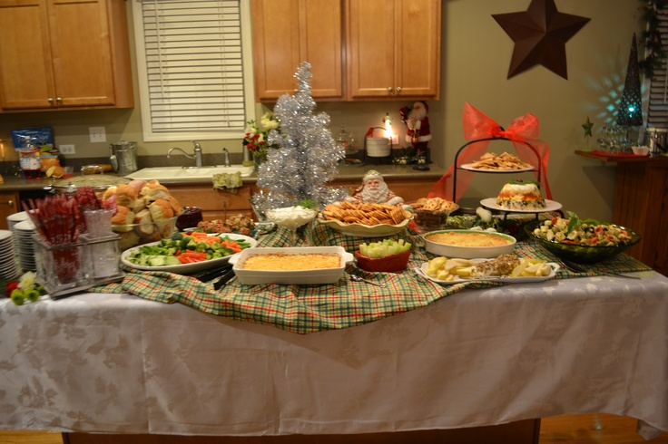 Holiday Party Buffet Table One Year Old Birthday Party Decor Pint