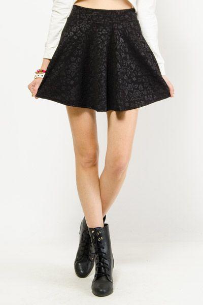 Floral Embossed Skater Skirt $8.99