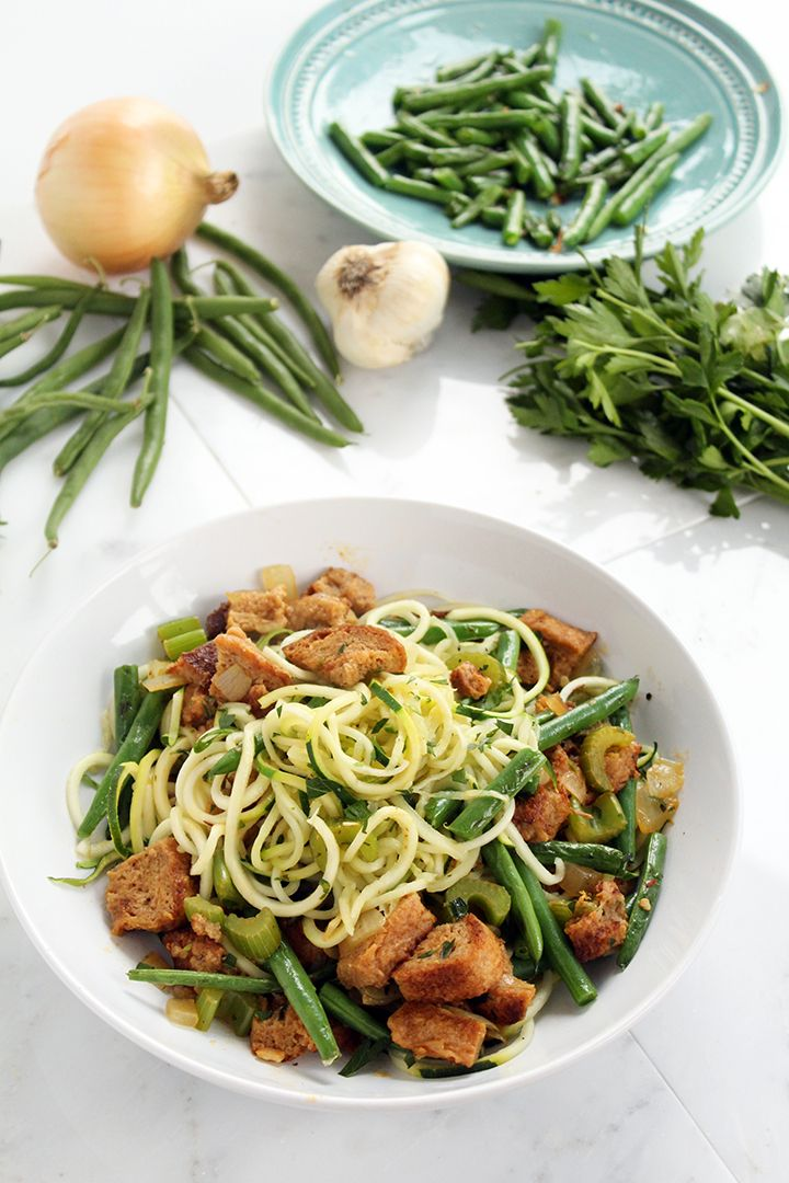 "Leftovers"" Zucchini Pasta (featuring Garlic Green Beans & Vegan Whol..."
