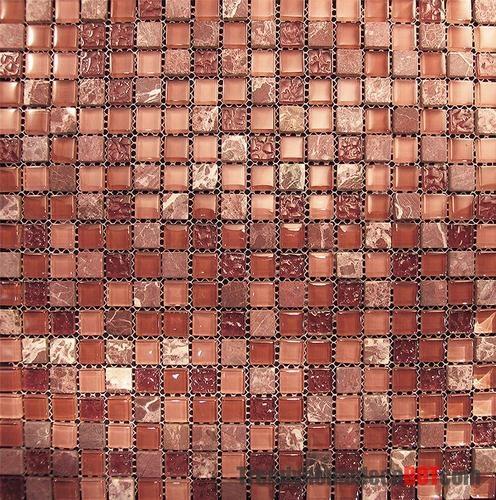 Sample Marble Red Pink Glass Mosaic Tile Blend For Kitchen Backsplash