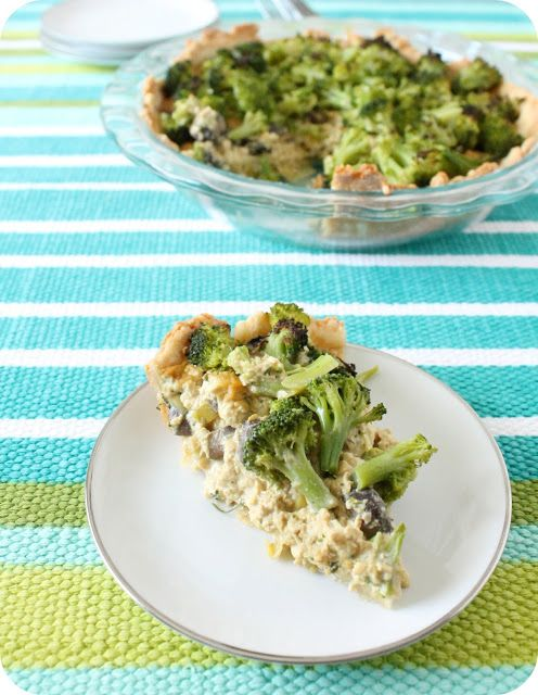 "TOFU BROCCOLI PIE ~~~~~ unbaked pie crust, ""butter,"" mushrooms, lee..."