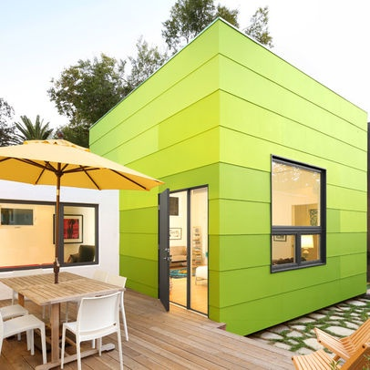 Bright Green House Modern Style Gray Door Bright Green House Bayer Built Woodworks
