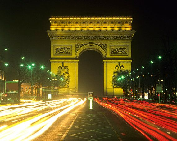 Arc de triomphe at night paris france blurred traffic for Arc de triomphe wall mural