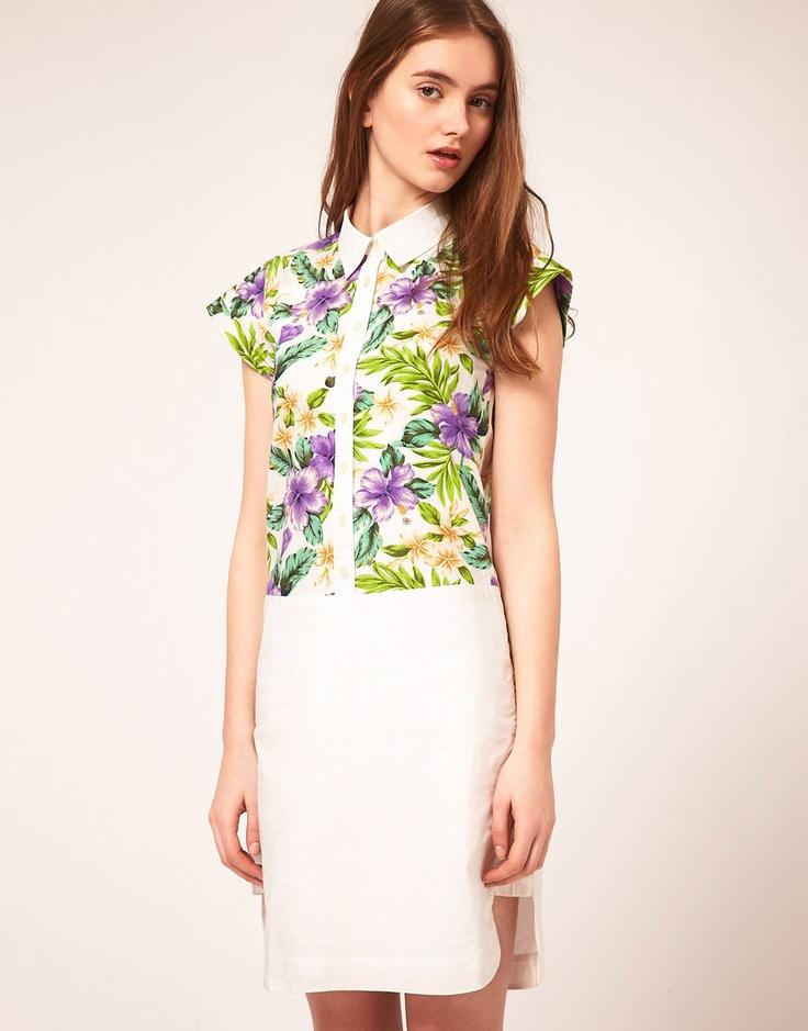 ASOS Shirt Dress With Tropical Print Panel
