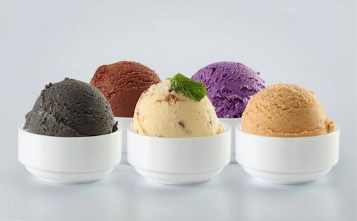 ... , coconut palm sugar, taro root, jackfruit, and red bean ice creams