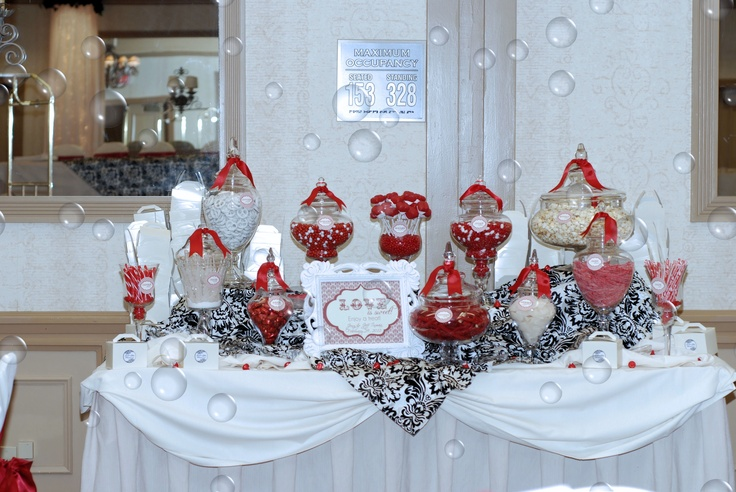 Wedding reception candy table candy dessert bar for Candy bar for weddings receptions